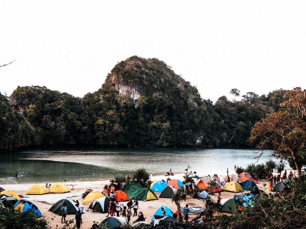 Camping tents at Sempu Island, Indonesia