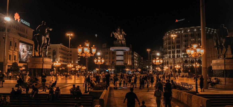 Skopje by night, Macedonia