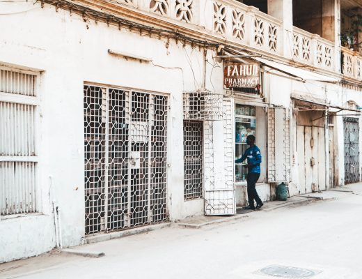 Local entering a store in Stonetown