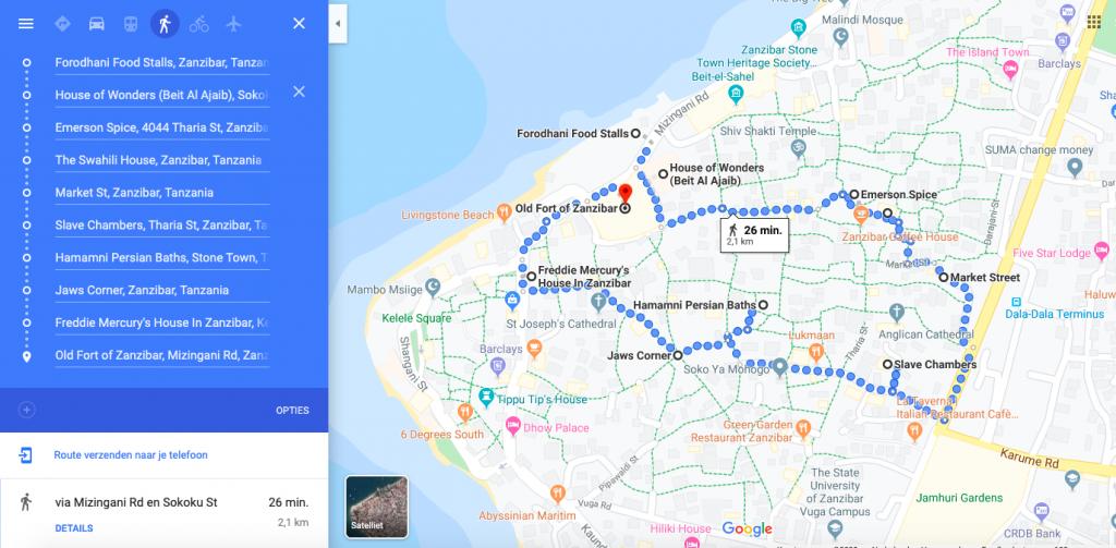 Walking Tour Route, Stonetown