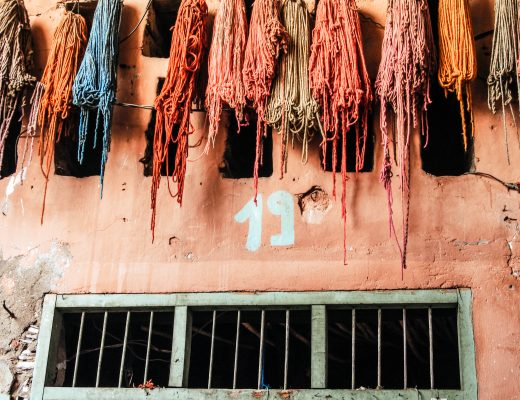 Hanging dyed yarn in Marrakech