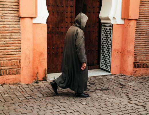 Locals wandering around in Marrakech, Morocco