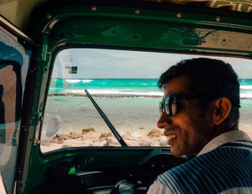 Driving towards Hikkaduwa from Mirissa