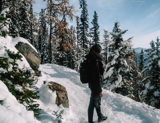 Hiking up towards Lake Agnes from Lake Louise, Canada
