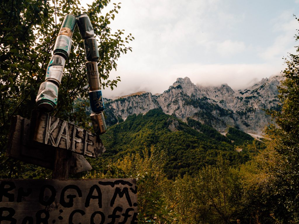 Coffee at the trail in the Albanian Alps