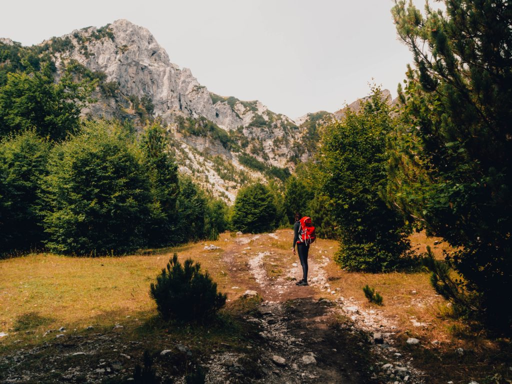Preparing for the large ascend in the Albanian Alps