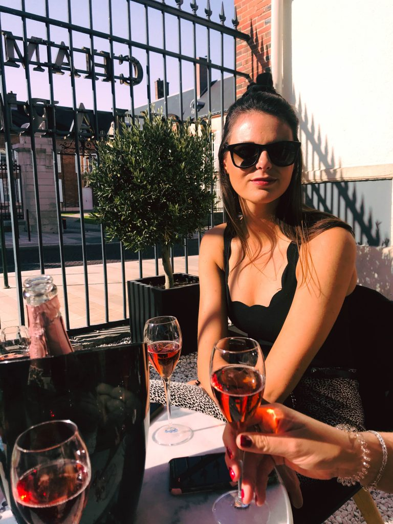 Bubbles on the terrace of Collard Piccard, Avenue de Champagne