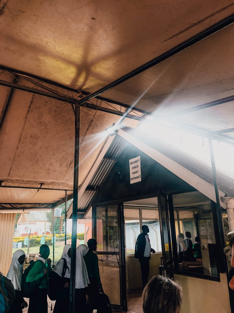Entering the airport in Arusha