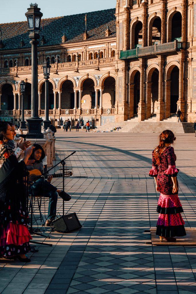 Flamenco dancer at Plaza de Espana, Sevilla, Andalusia Roadtrip