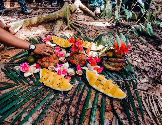 Fruit platter in Bukit Lawang, Indonesia