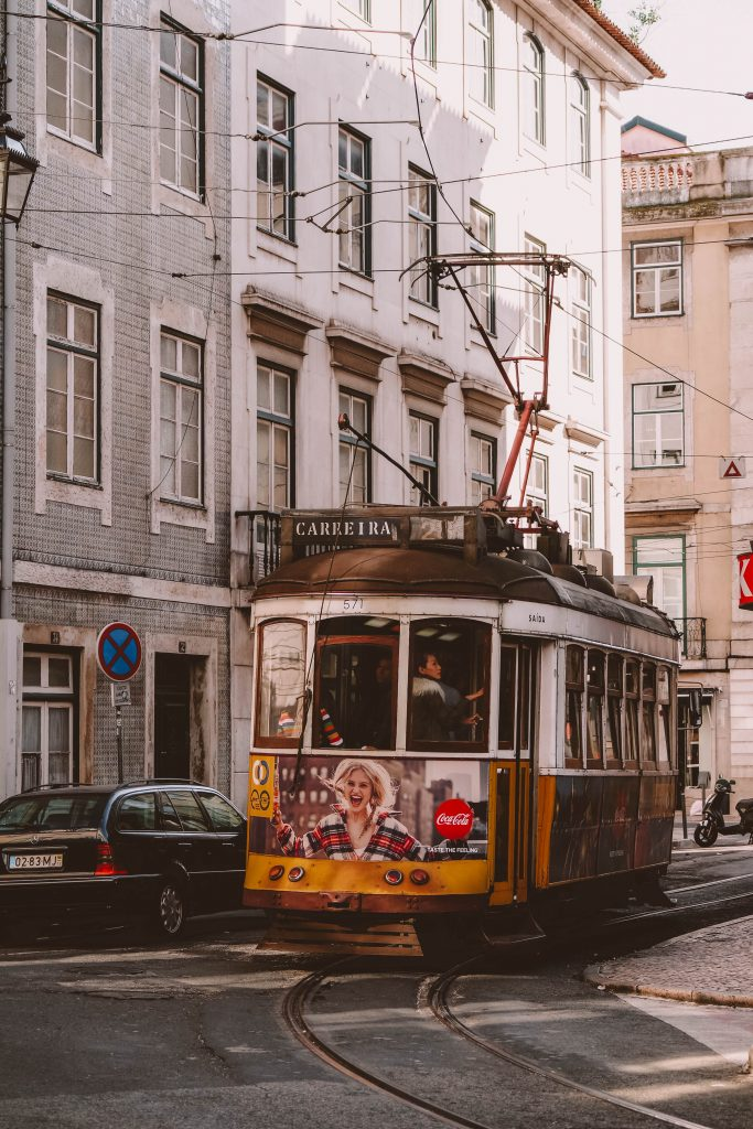 Iconic trams in Lisbon, Portugal