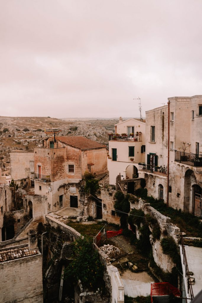Views in Matera, overlooking the Old Sassi, Italy