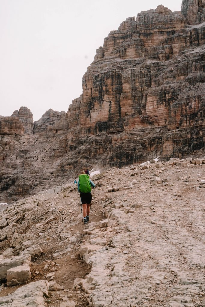 Climbing to a view point around the Tre Cime