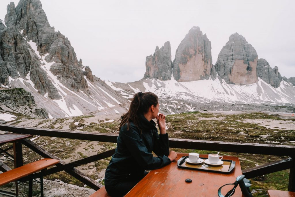 Coffee at the Dreizinnenhutte (Rifugio Locatelli)