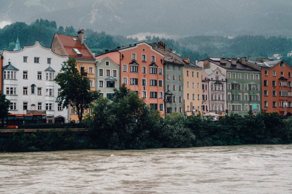 Colourful Houses at the River in Innsbruck