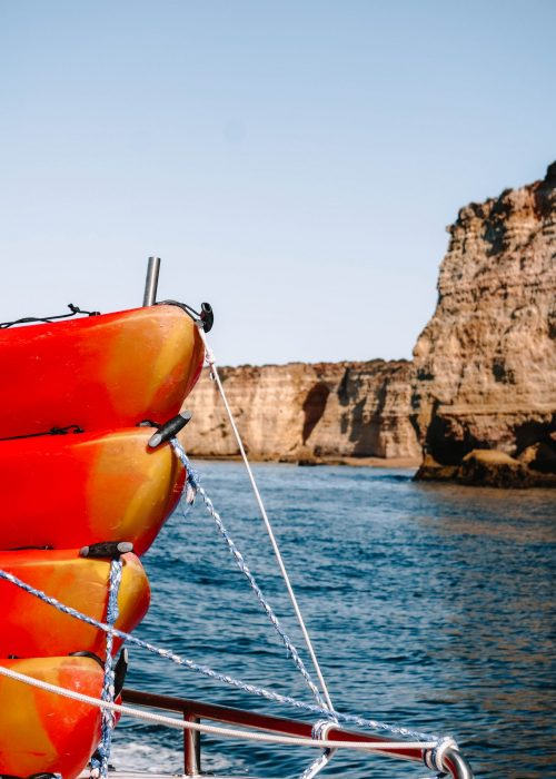 Canoeing to the Benagil Caves, Portugal