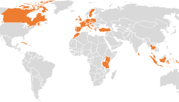 Map with Countries Visited